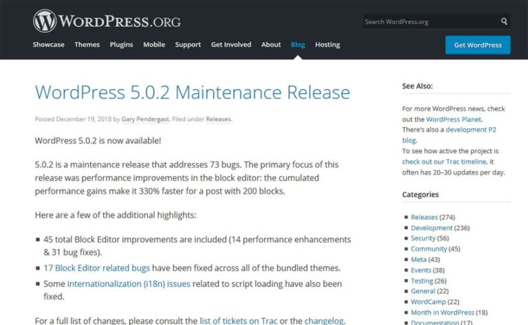 WordPress 5.0.2 Maintenance Release