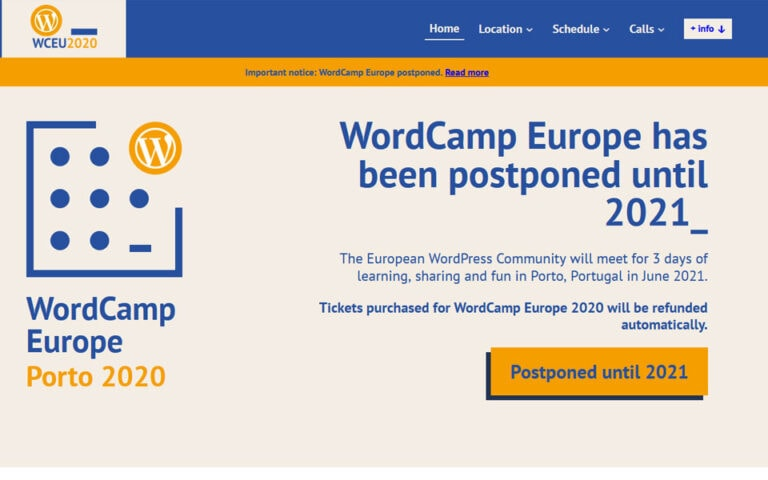 WordCamp Europe 2020 postponed